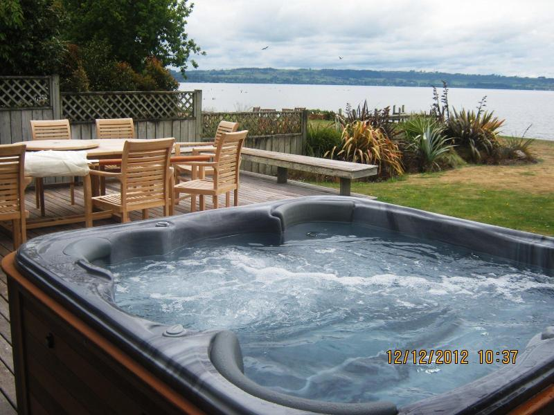 Spa pool and BBQ on the lakeside deck seating for 8 - Waikuta Lakeside Lodge Rotorua - Rotorua - rentals