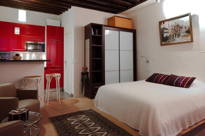 Main room Double bed, beams, modern furniture. - 591 Studio Great Location  Paris Notre Dame district - Paris - rentals