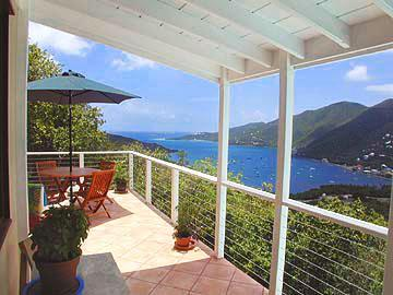 Porch with view on Coral harbor - Adventure Villa - 3 bed 2 bath, hot tub, best deal - Coral Bay - rentals