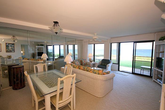 Living Room - Poipu 2BR Oceanfront Condo/Kitchen/Lanai 105A - Poipu - rentals