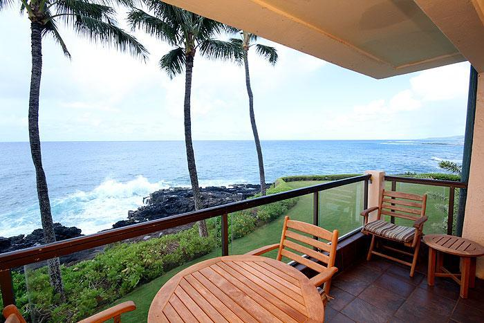 Lanai - 2BR Oceanfront Poipu Condo, Kitchen, WiFi, 203A - Poipu - rentals