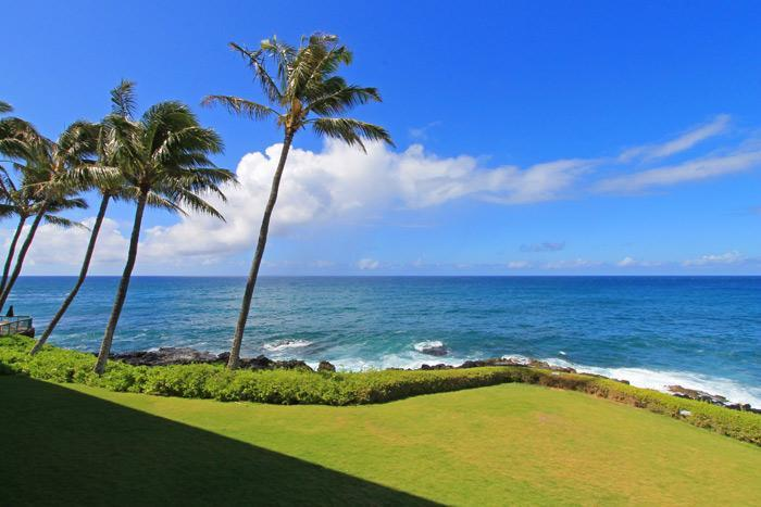 View from Lanai - Oceanfront 2BR Poipu Condo/Kitchen/WiFi 205A - Poipu - rentals