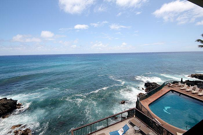 View from Lanai - 3BR Poipu Oceanfront Condo, Kitchen, WiFi, 301B - Poipu - rentals