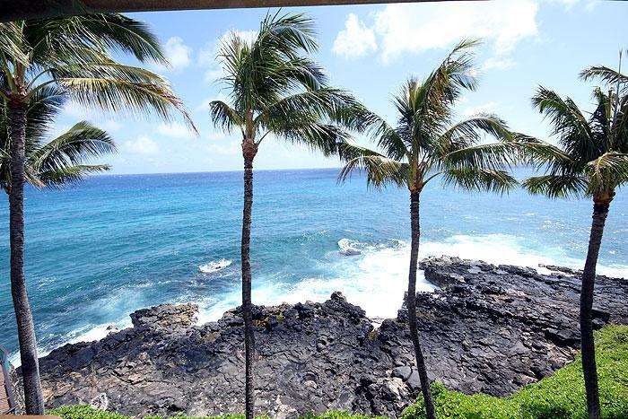 View from Lanai - 2BR Oceanfront Poipu Condo, Kitchen, WiFi, 402A - Poipu - rentals