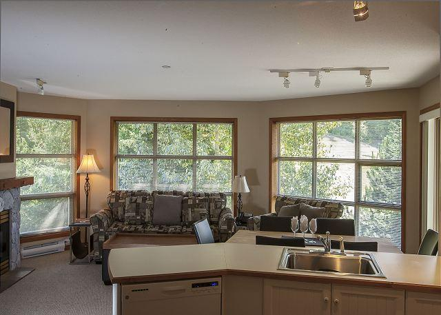 Living Area - Aspens #552, Top Floor 2 Bdrm, Ski in Ski out, Slope View, Free Wifi, BBQ - United States - rentals