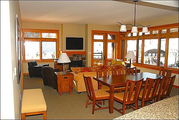 Large open living area with views of the slopes, Gondola, and Village Express - Capitol Peak A - Base Village - Ski-in/Ski-out (10800) - Snowmass Village - rentals