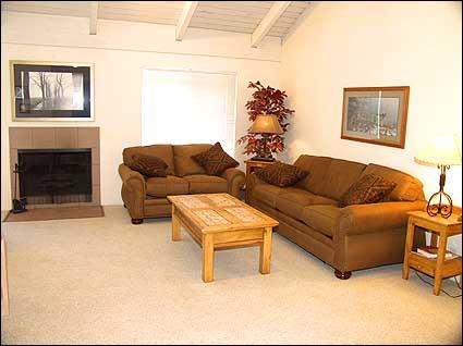 Comfortable living room with wood burning fireplace - Snowmass - Clubhouse and Pool (2118) - Snowmass Village - rentals