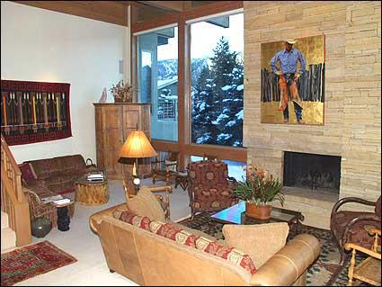 Family room with brick fireplace - Golf Course Home Lavishly Appointed - Executive Home (2605) - Aspen - rentals