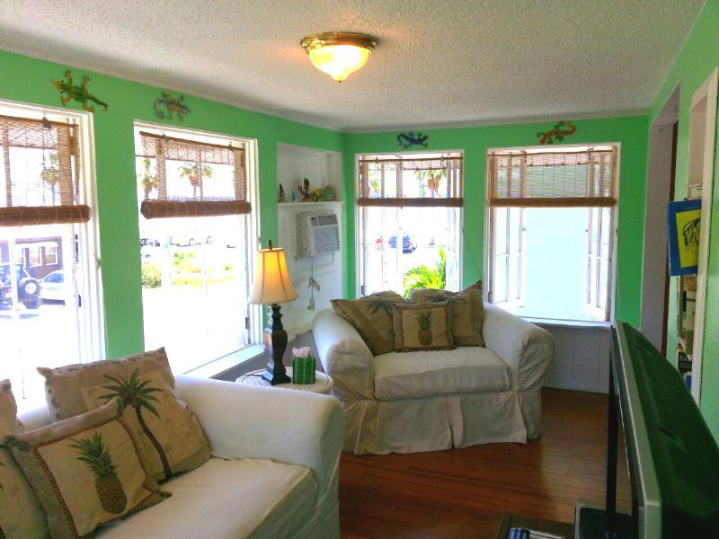 Beach views from the living room overlooking Boca Ciega Bay. - Spring Vacation In Charming and Funky Old Florida - Gulfport - rentals