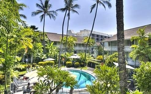 View from your 2nd floor condo's  lanai - a tropical tranquility in Olde Hawaii plantation setting! - Aloha Romantic Hawaiian Beach Condo Downtown Kona - Kailua-Kona - rentals