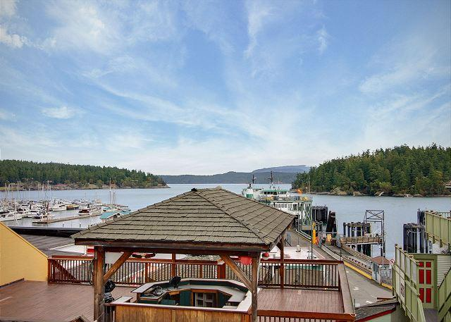 Enjoy the comings and goings of the ferry traffic while enjoying a morning cup of coffee from this balcony at the Northwest Passage. - San Juan Suites - Northwest Passages - San Juan Island - rentals