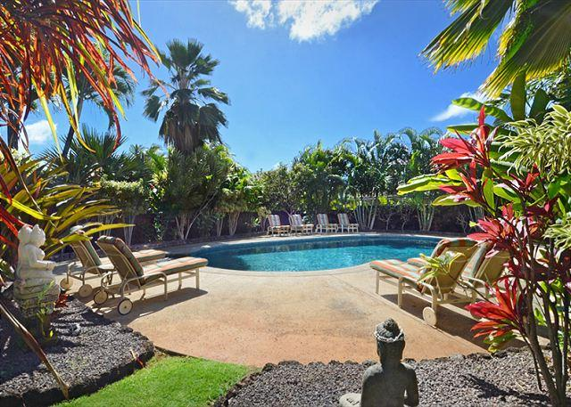 Exquisite, private, peaceful lagoon heated pool with spa and lav - Ho'ohu Nani - Luxury Ocean View Poipu Home; SPECIAL RATE 8/23/17-10/31/17! - Koloa - rentals