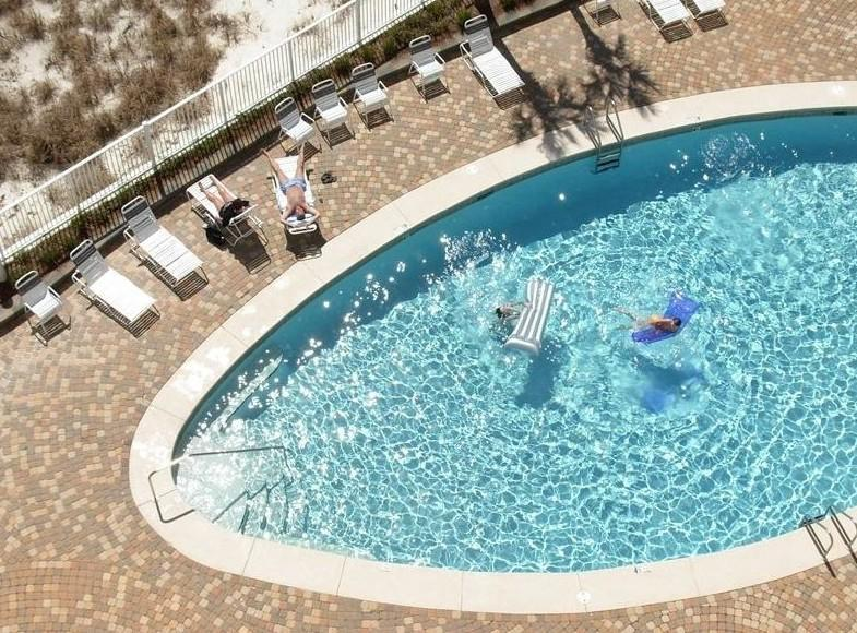 View of outdoor pool from balcony - Windward Pointe 903 Gulf front 3 bedrooms, 2 baths - Orange Beach - rentals