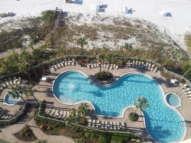 View of pool from our balcony - BEACH FRONT LUXURY WITH FREE BEACH CHAIR SERVICE - Panama City Beach - rentals