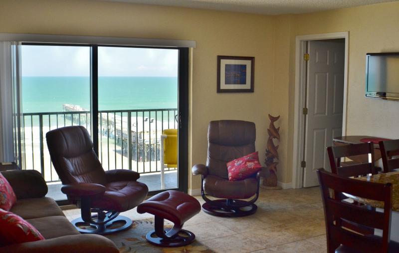Open Living/Dining/Kitchen with fantastic ocean views - Sunglow Resort 702, 2 Bed/2 Bath Direct Oceanfront - Daytona Beach - rentals