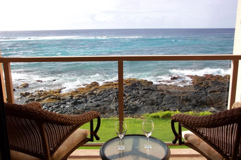 View from Lanai - Oceanfront Luxury Condo in Poipu, Kauai - Poipu - rentals