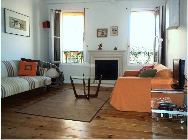 Summer in bright & quiet living room in greatest part of Old Nice,Wifi, AC,Cable - Charming by Park &  Sea, in Lively & Historic Old Nice - Nice - rentals