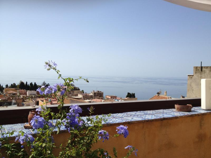 view from the patio - Taormina, overlooking town with the Greek Theater - Taormina - rentals