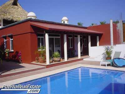 Exterior pool view of Casa Suzanna - Casa Suzanna: Lovely, 3 BR home with ocean view - Puerto Escondido - rentals