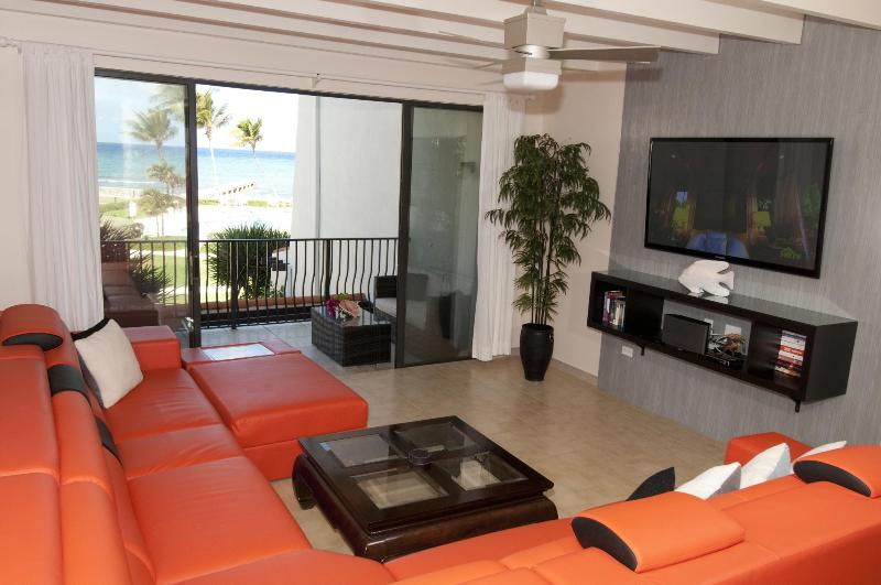 "Living Room with 60"" plasma and Sonos wireless music system - Stunning 2 BR Beach Front Condo - West Bay - rentals"