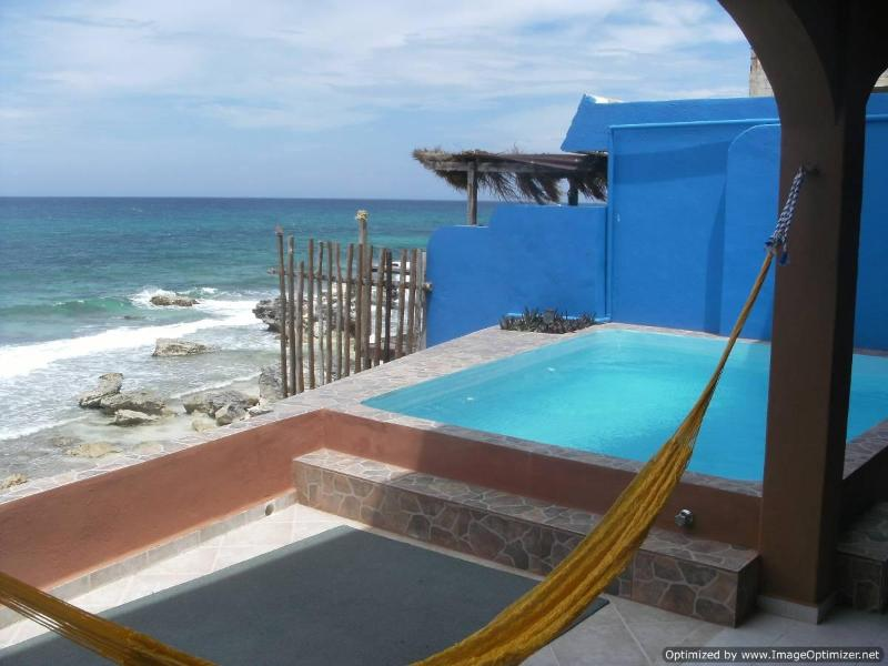 Main Pool Level facing east over the Caribbean - Casa Roca Caribe: Main Pool Level - Isla Mujeres - rentals