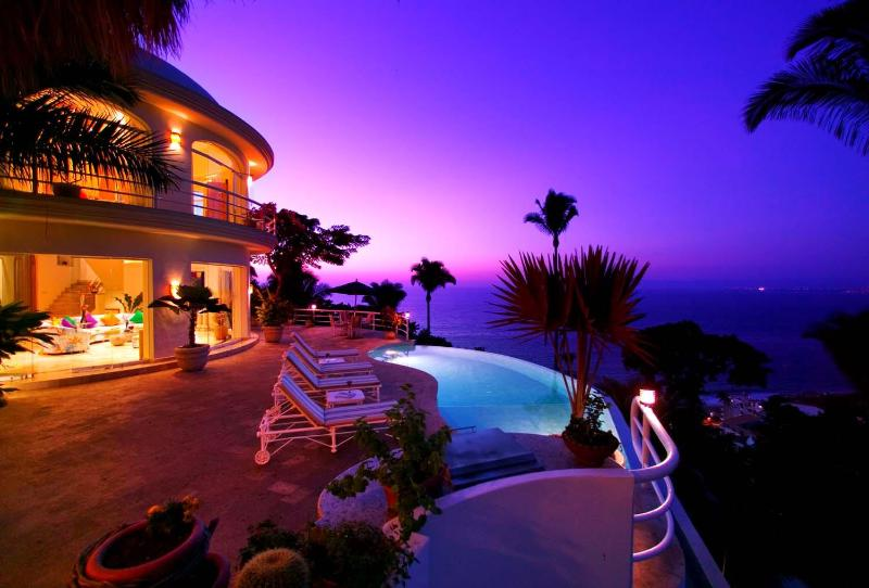 SUNSET VIEW FROM PALAPA AND POOL - VILLA FRANCISCO - Puerto Vallarta - rentals