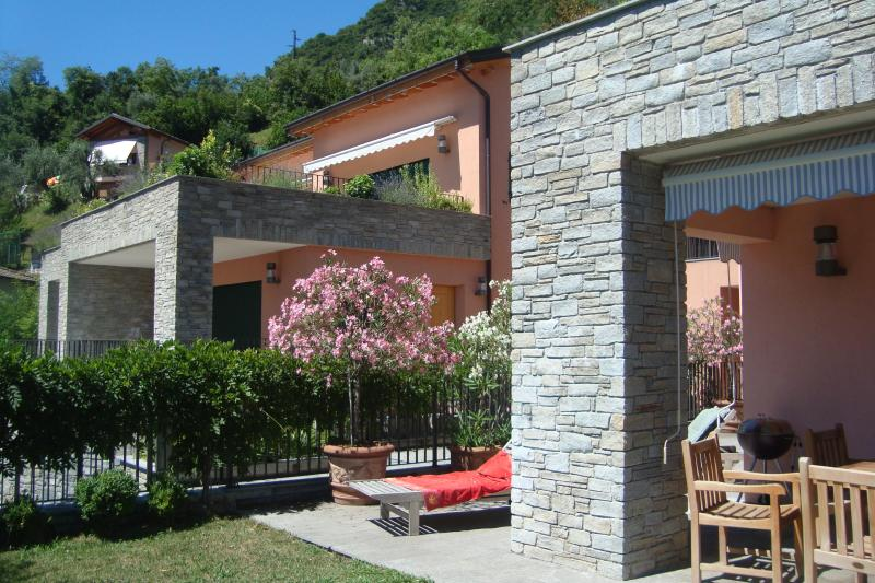 Spacious private garden with lawn, ample portico for outside dining, olive trees and rhodadendrons - 3bed Lake Como home with garden and amazing view - Sala Comacina - rentals