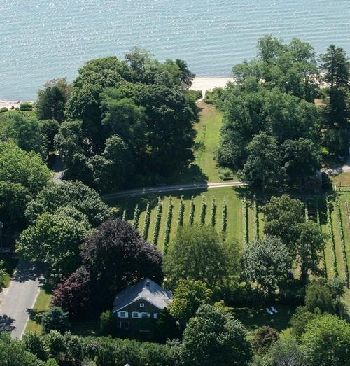 Aerial view of the Old Bay Home farmhouse and beach - Vineyard Farmhouse with private beach*2wk minimum* - Southold - rentals