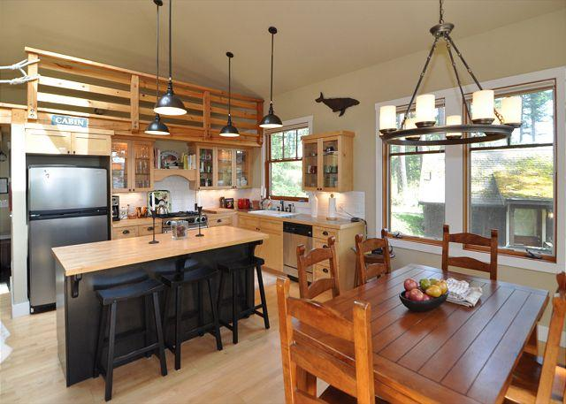 Kitchen and dining. Note that loft is decorative only. - Wild Currant Bungalow on Orcas Island - Eastsound - rentals