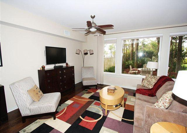 Living Room with TV - Bahia 4129 ground floor condo - FREE Golf at The Raven! - Sandestin - rentals