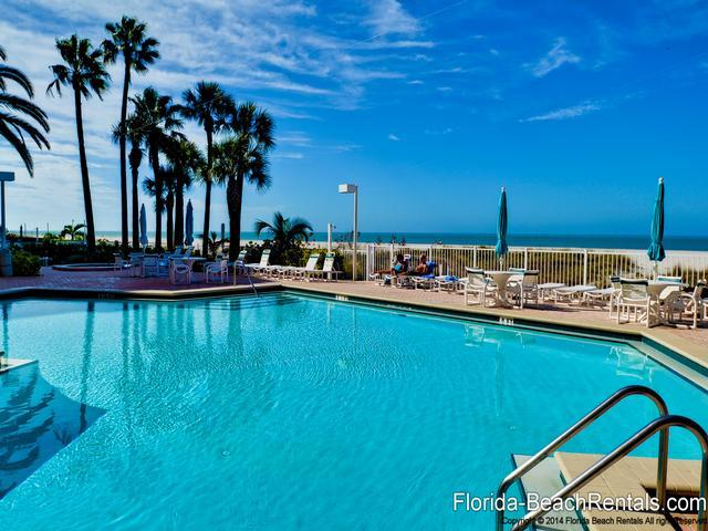 Crescent Beach Club pool is directly in front of the beach - Crescent Beach Club  14B Beachfront Condo - Clearwater Beach - rentals