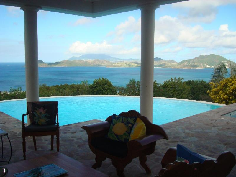 Veranda's  magnificient view of St. Kitts - Castelet, a Luxury Villa in Paradise - Nevis - rentals
