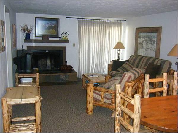 Living Room Includes a Wood-Burning Fireplace and Queen Futon - Cozy Mountain Condo - Ideal for Summer or Winter Trips (1248) - Crested Butte - rentals