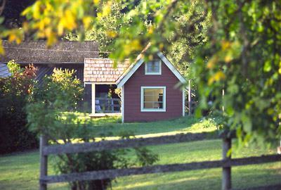 The red cabin is a cozy sleeping cabin. - Foxglove Farm Cottages: Studio Sleeping Cabin - Salt Spring Island - rentals
