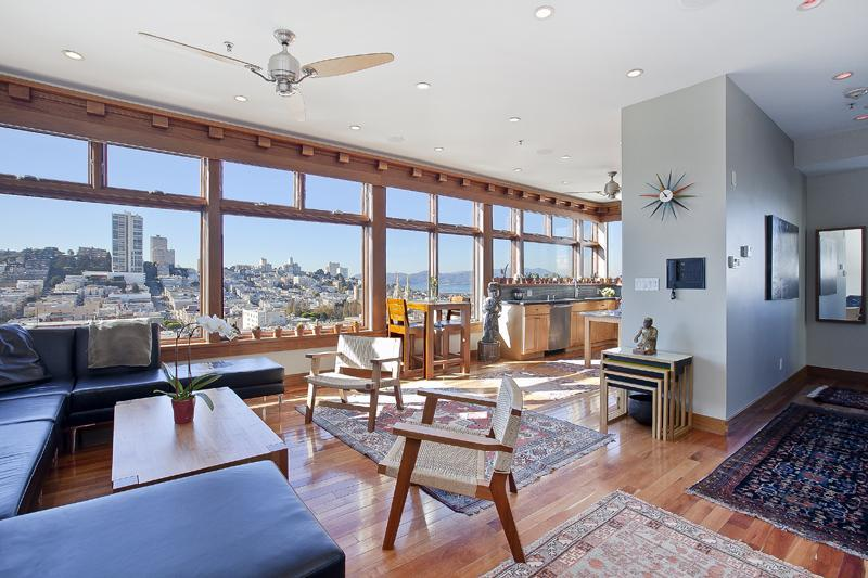 Living / Dining with Huge Views - Spectacular Telegraph Hill 3 Bedroom Penthouse - San Francisco - rentals