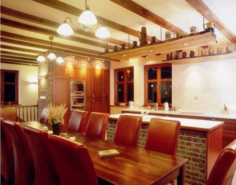 Dinning room with kitchen - Holiday Home in forest -Lake -Squash -Golf - Gryzyna - rentals