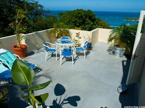 Sundeck overlooking the ocean and town below - Oceanview Terrace: Luxury Private Townhome - Ocho Rios - rentals
