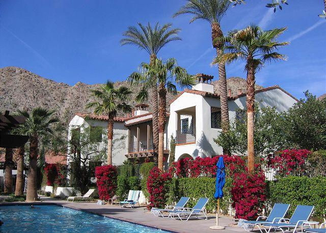 Patio View from Pool - Perfectly Located  3 Bedroom Villa with Mountain Views - La Quinta - rentals
