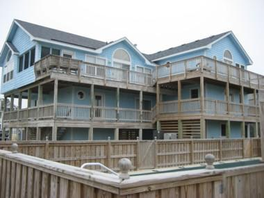 Exterior with tons of decking to watch the morning sun rise! - 8BR (6 Masters)! Pool, Hot Tub, Elev! 7/4 DISCOUNT - Corolla - rentals