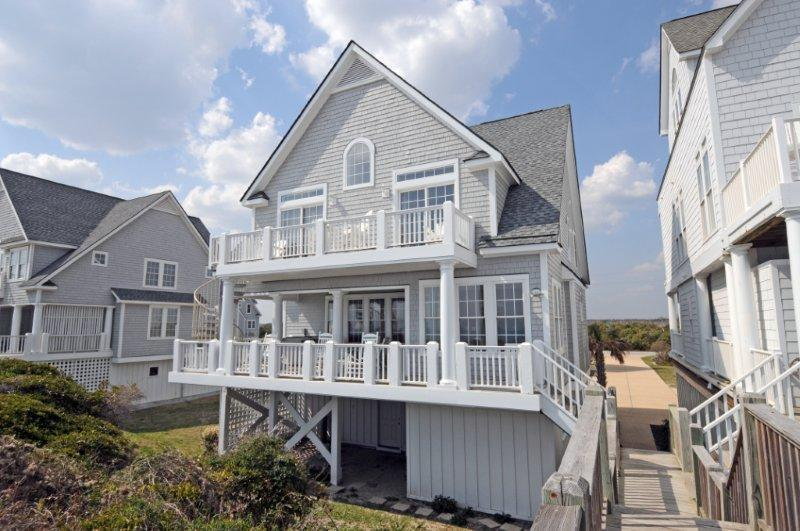 View of the house from the crosswalk with direct access from front porch - 6BR Beachfront Home w/ Hottub open fall wks 5% off - North Topsail Beach - rentals