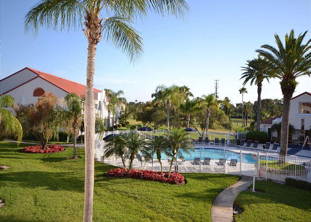Pool & Spa view from the balcony - Isla Del Sol - Vista Verde East 6-247 Gorgeous 2nd Floor, Pool View Condo! - Saint Petersburg - rentals