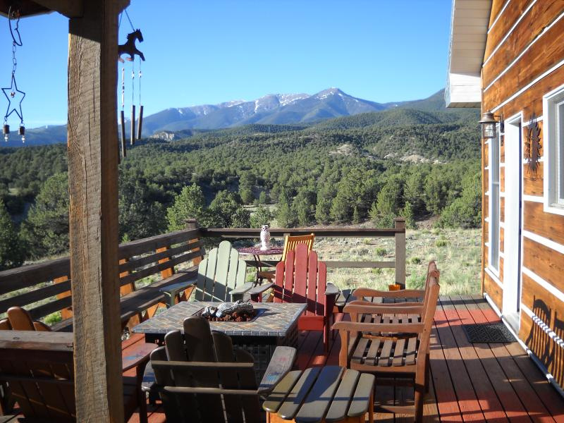The sumptuous back deck with gas fire pit, ample seating & unobstructed views of Methodist Mountain. - *WOWZA* HIGH COUNTRY HEAVEN - 5 minutes from downtown Salida**All 5 STAR REVIEWS - Salida - rentals