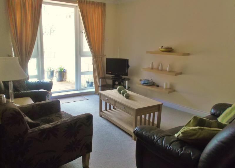 Sunny livingroom with french doors to south facing garden terrace - City Centre Apartment - garden, parking and wi-fi - Edinburgh - rentals
