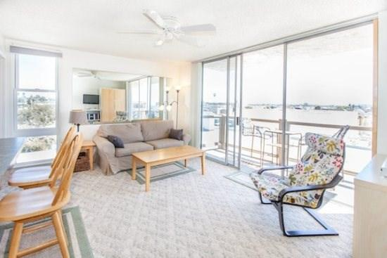 Living Room and Access to Balcony  - Redondo Delight - Mission Beach Relaxing 1BR - Mission Beach - rentals