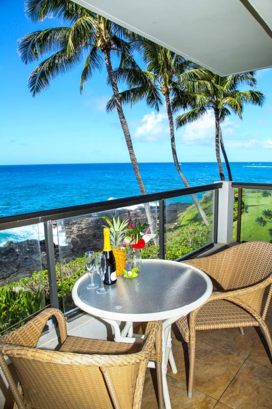 Your Private Oceanfront lanai. - Poipu Shores 201A 2BR Oceanfront. Updated. - Koloa - rentals