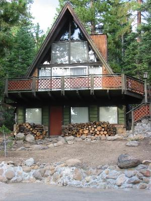 Summer view of our family cabin - Charming Old Tahoe AFrame on North Shore-sleeps 9 - Kings Beach - rentals