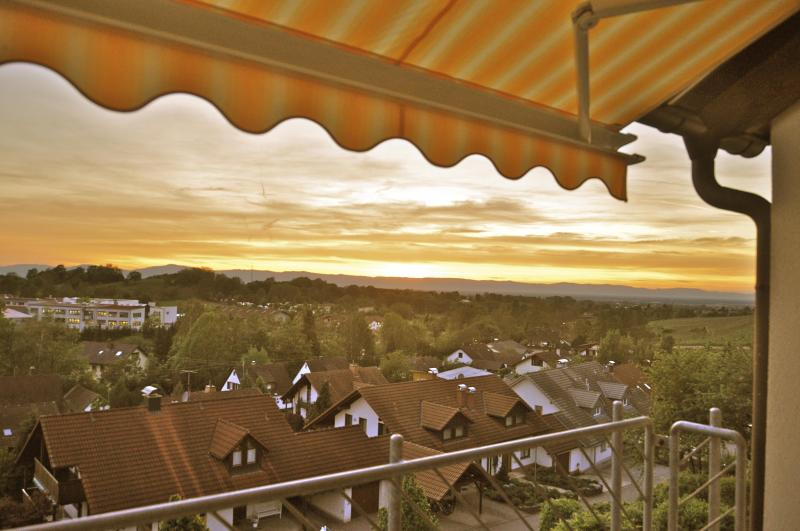 Evening Sunset from private balcony - 4-Star Apartment with Black Forest & Alsace View - Sulzburg - rentals