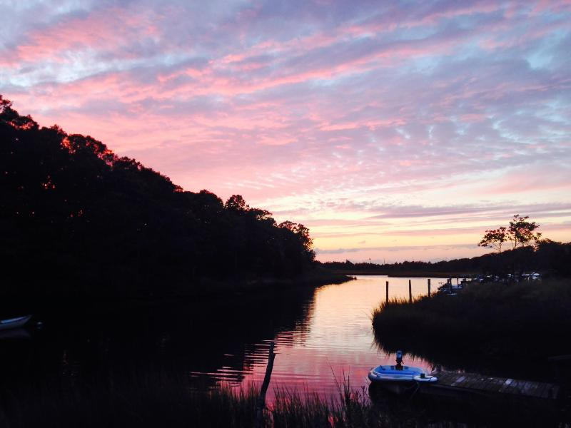 Watch the sunset view from the firepit! - Magical waterfront setting, kayak or walk to beach - East Hampton - rentals