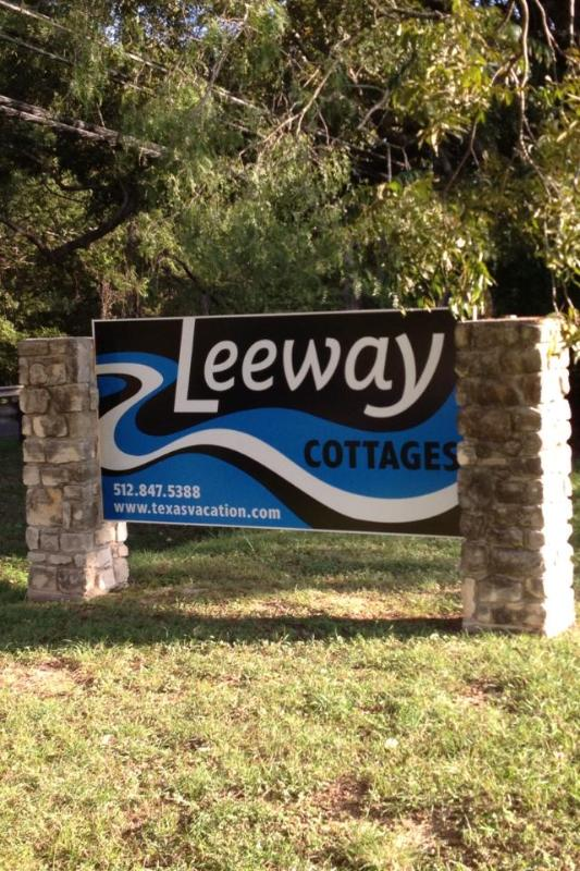 Our Welcome Sign - Leeway Cottages on Cypress Creek - Wimberley - rentals