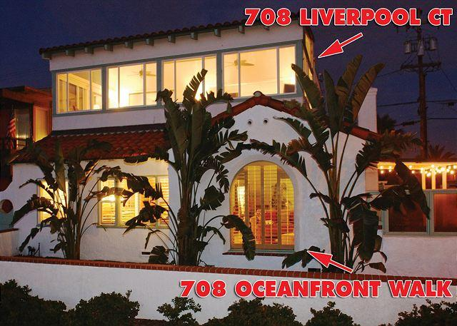 Exterior Night - Perfect 5 Bedroom House, Ocean Front with beautiful  view and a large patio - Pacific Beach - rentals